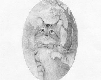 Cat Drawing Black and White Pencil Nature Illustration Whimsical