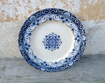 Vintage French XIX century Jules Vieillard Bordeaux service Louis XV   transferware  plate