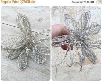 ON SALE 20% Vintage Antique 1900/1920 French timeworn white beaded flower on long stem/beadwork
