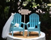 Beach Wedding Cake Topper, Adirondack Chair Cake Topper, Destination Wedding, Bride and Groom Cake Topper, Wedding Bouquet, Nautical,