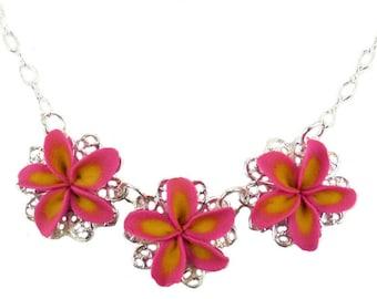 Three Plumeria Necklace - Frangipanis Necklace, Trio Plumeria Jewelry, PlumeriaFiligree Necklace