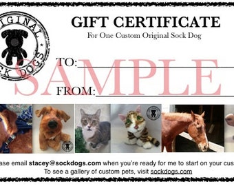 Custom Stuffed Animal Pet - Dog Memorial - Cat Memorial - Loss of Pet Gift - Keepsake - Made to Order Pet Replica - Gift Certificate