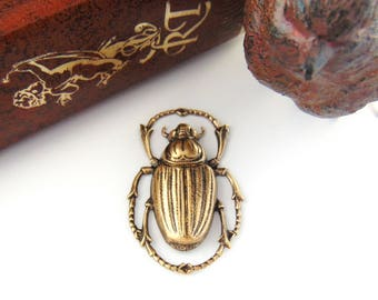 ANTIQUE BRASS * Egyptian Scarab Beetle Stamping ~ Jewelry Findings ~ Brass Stampings (C-408)