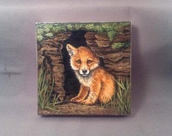 Original Fox Kit Painting Acrylic 4 x 4