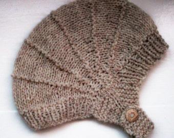 Adult hat, aviator hat, luxury yarn, alpaca, merino, unisex hat, knitted helmet hat, soft, warm, earflap hat, beige