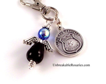 St Michael Guardian Angel Charm Police Shield Italian Medal In Black Onyx and AB Blue Czech Glass by Unbreakable Rosaries