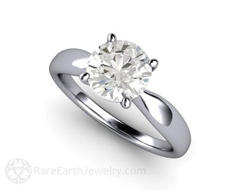 Forever One Solitaire Moissanite Engagement Ring 14K or 18K Gold Platinum Conflict Free Diamond Alternative