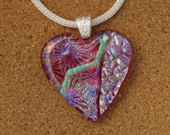 Dichroic Heart Pendant - Dichroic Jewelry - Fused Glass Pendant - Valentines Day - Fused Glass Heart - Fused Glass Jewelry - Dichroic Glass