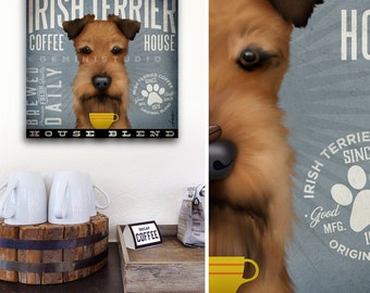 Irish Terrier dog Coffee Company illustration graphic art canvas panel by Stephen Fowler