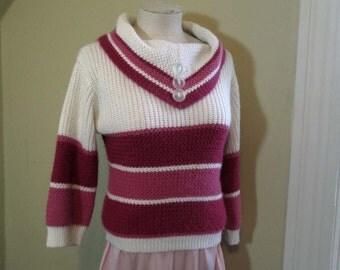 Pink 50s Stripe vintage Sweater Big Collar sweater 50s Vintage acrylic knit Pink stripe sweater textured knit crop length S M