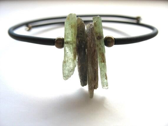 Kyanite Bracelet, Green Kyanite Stone Cuff Bracelet , Green Kyanite Handmade Stone Bracelet Jewelry, Kyanite Jewelry, Kyanite