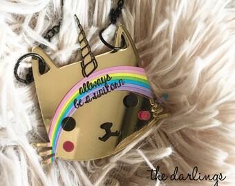 "KITTY Unicat -unicorn cat ""darling kitties"" 2017 laser cut silkscreen print necklace, plexiglass, acrylic, perspex"