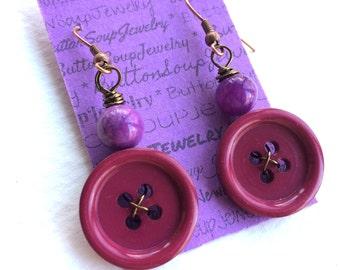 Violet Purple Vintage Button Earrings