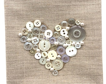 Button Art White Heart made with vintage buttons on  canvas