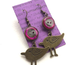 Funky Bird and Button Dangle Earrings with Pink Vintage Buttons