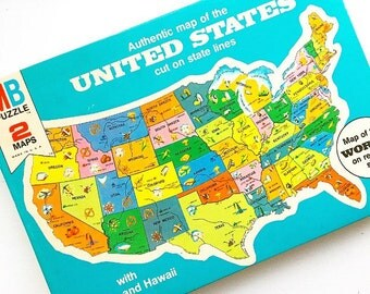Map It Out... Vintage Colorful Milton Bradley United Sates of America USA World Map Puzzle New Old Stock Never Been Opened 1975