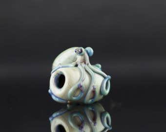 Octopus Dread Bead / Macrame Bead / Dreadlock Bead / Hair Jewelry / Hair Accessories / Blue Moon & Silver Amethyst / Ready to Ship #623