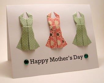 CLEARANCE Origami Dress Mother's Day Card (light green pink)