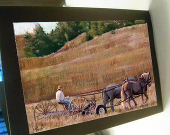 greeting card print of original art- Haying time horse team