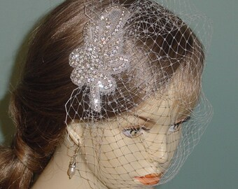 Crystal Rhinestone Birdcage Blusher Wedding Veil White Ivory Champagne
