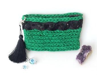 Emerald Green Crocheted Clutch with Black Silk Tassel