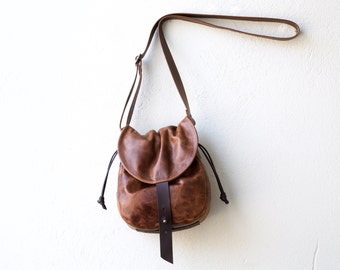 NEW 1903 Cinch CROSSBODY bag - small pecan leather and waxed canvas bag - lightweight travel bag