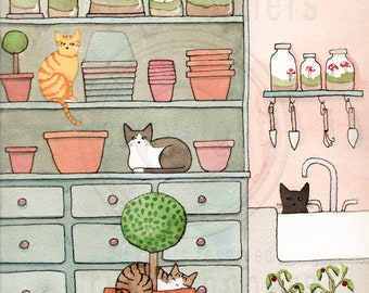 CAT Art Cats in the Potting Room Original Cat Folk Art Watercolor Painting