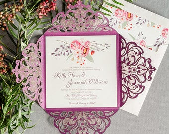 Wedding Invitation - SAMPLE - laser cut folio