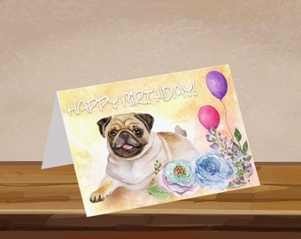 Birthday Card, pug, watercolor, tan pug, custom with or without verse