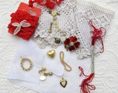 Vintage Hanky Panky Collection #2, Heart Kit...Ivory Handkerchief, Lace, Jewelry, Ribbon, Buttons,Thread...Collage, Fabric Arts, Supplies