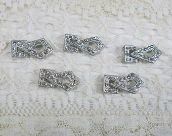 Mini Vintage Rhinestone Clasps, 2-Piece Connectors, 5 Set Lot, Sew-ons ...Tiny embellishment supply for dolls, collages, journals, jewelry