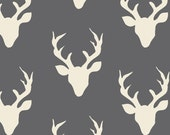 NEW Buck Forest in Moonstone, Woodland Baby Quilt fabric, Hello Bear, Gray Deer fabric, You choose the cut