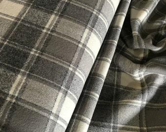 Flannel Fabric, Mammoth Plaid Flannel, Buffalo Plaid, Gray Flannel, Farmhouse decor, by Robert Kaufman, Mammoth Flannel in Iron 103