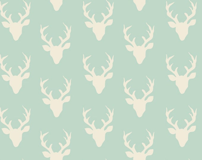 NEW MINI Buck Forest in Mint, Woodland Baby Quilt, Deer fabric, Hello Bear fabric, Rustic Home Decor, Shower Gift fabric, You choose the cut