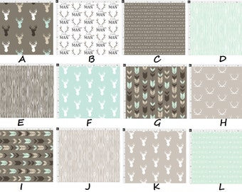 Rustic Woodland Arrows Deer/Buck Antlers Little Man Brown Beige & Mint MOD Baby Nursery Crib Bedding Set CHOOSE and CUSTOMIZE
