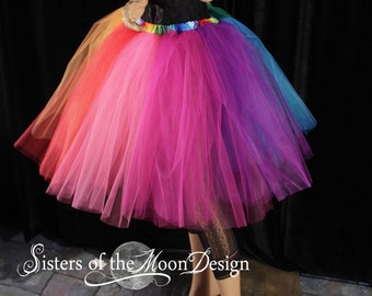 Rainbow tutu tulle skirt knee length adult Pride run race dance costume carnival EDC Rave club - You Choose Size - XS to Plus size - SOTMD