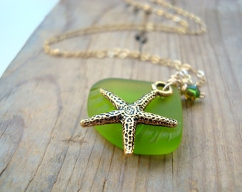Gold Starfish and Green Sea Glass Necklace With Crystal Gold Jewelry Beachy Summer Jewelry Gemstone Bridesmaid Necklace