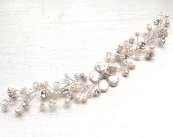 Bridal headpiece, wedding hairvine, Boho, bridal hair accessories, weddiing hair accessories, hairvine Handmade pearl bridal