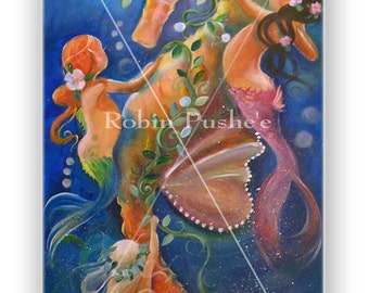 Little mermaids and Sea horse Art, Original Canvas Painting, large