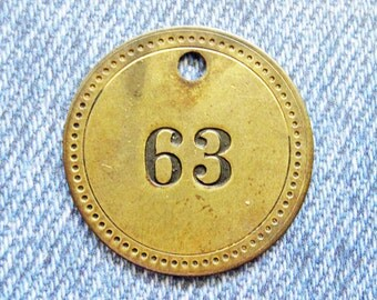 Painted Number 63 Brass Tag Motel Room Check Id Retro Antique Keychain Key Ring Fob Token