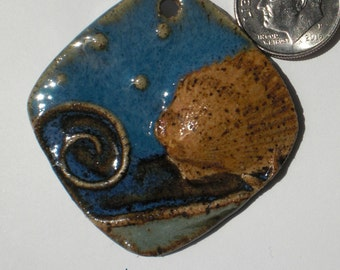Blue and Sage Stoneware Scallop Shell Wave Pendant