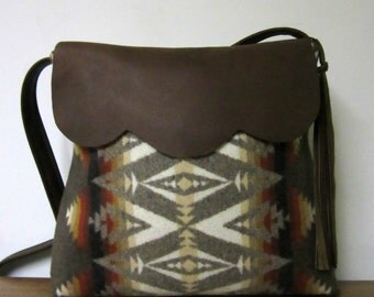 Shoulder Bag Possible Cross Body Bag Buttery Soft Brown Leather Tribal Inspired Blanket Wool from Pendleton Oregon