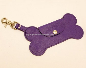 Dog Bone Purple  Leather Pouch (MIS1280