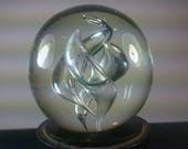 Vintage Modernist Art Glass Paperweight Clear 1960's
