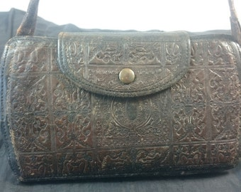 Antique Edwardian Brown Leather Ladies Handbag Purse Early 1900's