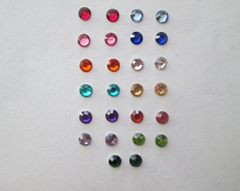 Tiny 4 mm Rhinestone Magnetic Clip On or Hypoallergenic Pierced Plastic Post Stud Earrings