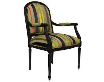 MOVING SALE - Neon Stripe Louis Chair