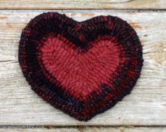 Valentine's Day Heart - Primitive Rug Hooking Heart Coaster - Hand Hooked Folk Art Style (Free Shipping)