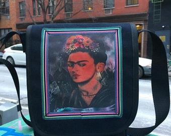 Frida Kahlo Black Canvas Messenger Bag, Crossbody Daybag, Courier Bag