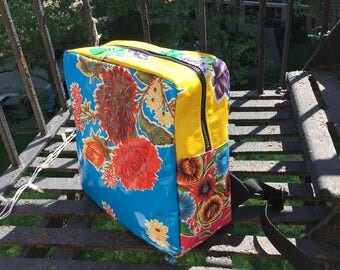 Blue Floral Oil Cloth Patchwork Backpack, Handmade lightweight Oil Cloth Love Shine Knapsack
